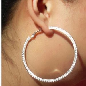 Beautiful Diamond Hoop Earrings